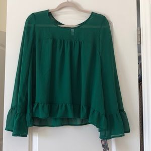 Emerald Green sheer Ruffle Blouse